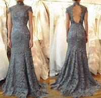 2017 Sexy Grey Lace Mermaid Evening Dress Robe De Soiree High Neck Open Back Formal Evening