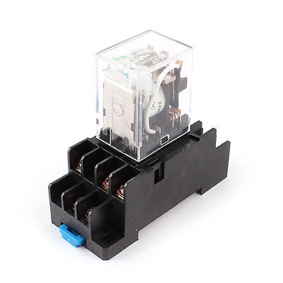 DC24V/DC12V/AC110V Coil 3PDT 11 Pin Green LED General Purpose Power Relay w Socket Base HH53PL