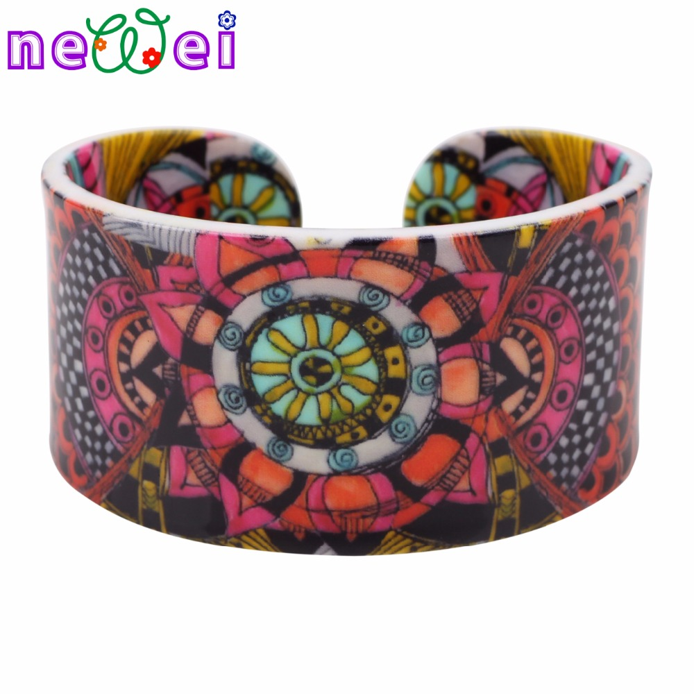 NEWEI Ethnic Special Pattern Love Wide Bracelets Bangles Fashion Jewelry For Women News Summer Spring Bijoux Accessories