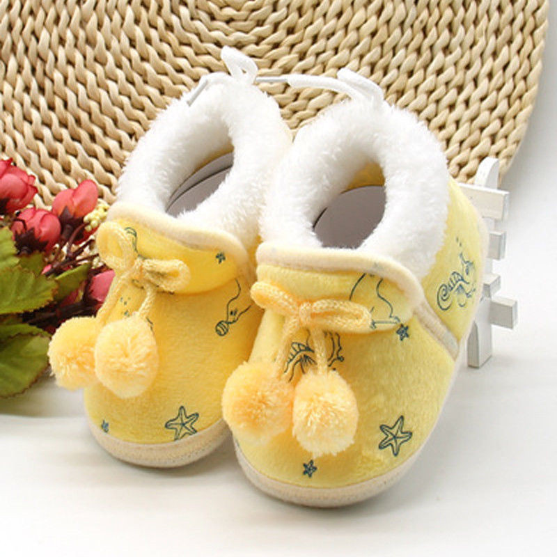 Newborn Infant Winter Keep Warm Thick Baby Shoes First Walkers Girls Soft Sole Walking Plush Shoes For Babies