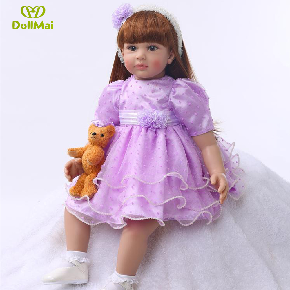 "24""/60 cm Lovely Purple Dress Baby Reborn Silicone Princess Girl Doll Toys for Girls Play House Doll Gift Christmas Doll"