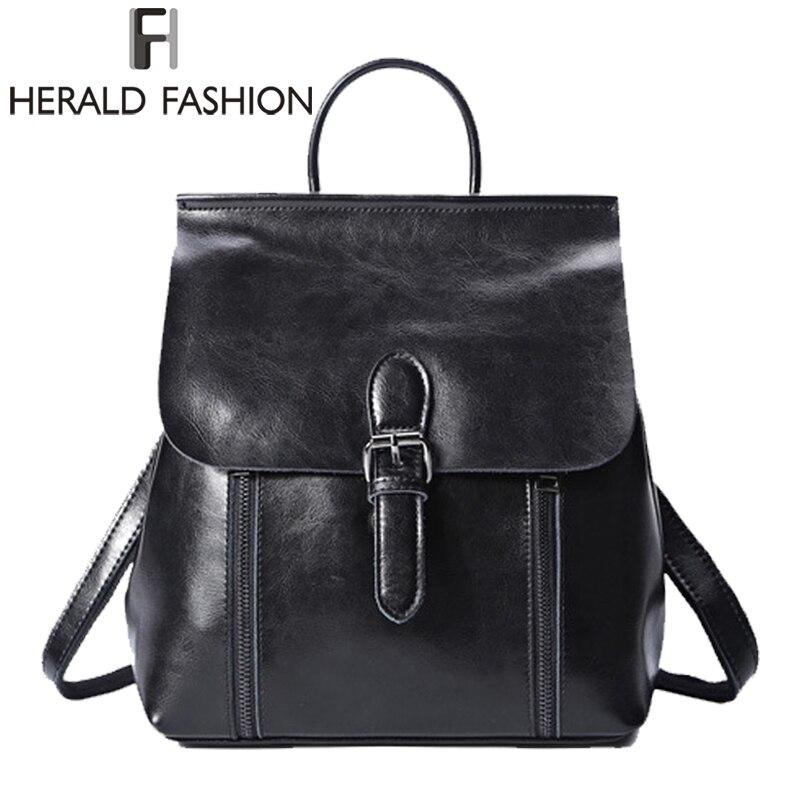 Herald moda Cuero auténtico mujer mochila mujer viaje del Vintage mochila ocasional estudiante bolsa para adolescente