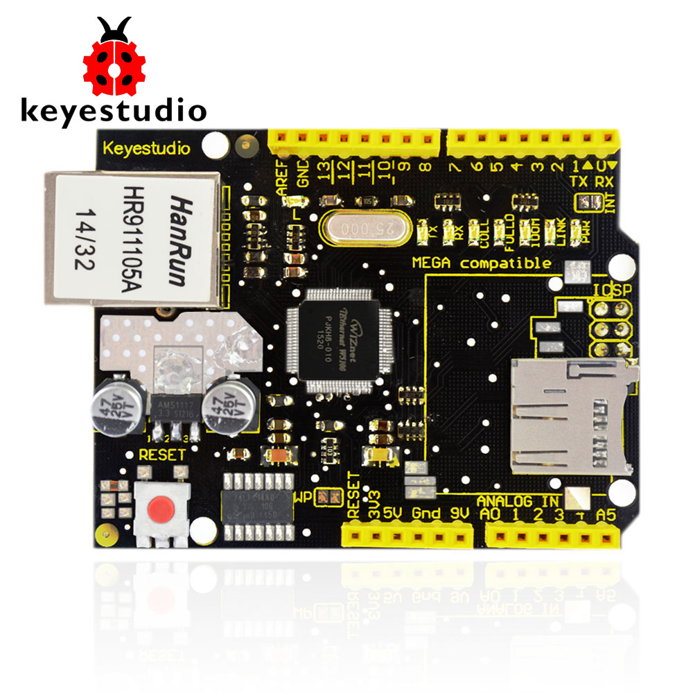 NEW! Keyestudio W5100 Ethernet Shield for arduino UNO R3 +Mega 2560