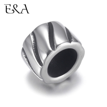 4pcs Stainless Steel Twisted Cylinder Bead 7mm Large Hole for Jewelry Bracelet Making Metal Beads DIY Supplies Parts