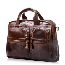 Genuine Leather Wax Oil Head Layer Cowhide Men Business Briefcase Soft Handle Zipper Male Leather Laptop Vintage Portfolio Bag
