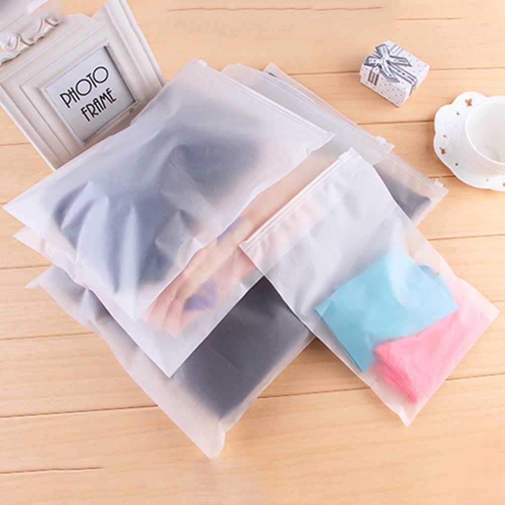 Kolam Tas Transparan Disegel Tahan Air Zip Kunci Tas Ritsleting Tas Reclosable Tas Penyimpanan untuk Pakaian Bra Sepatu Baru
