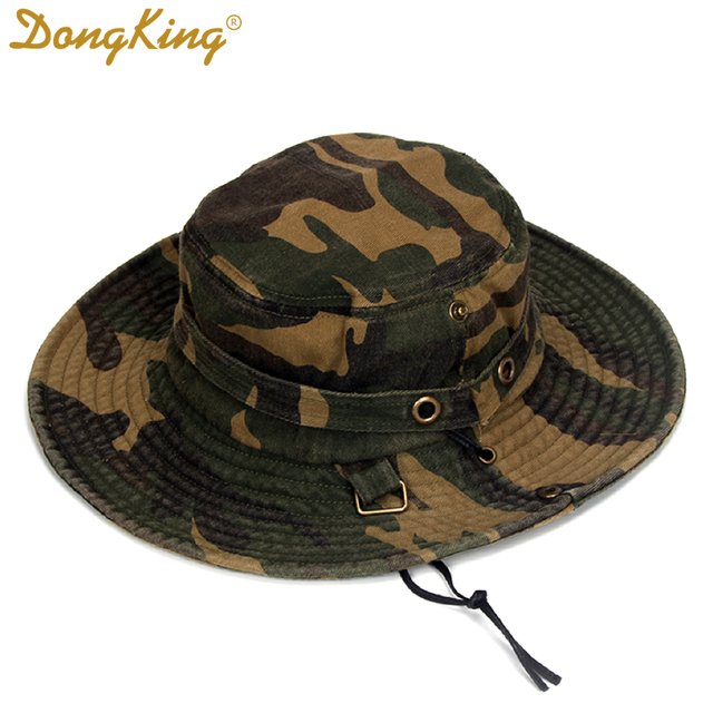 645c840d2 US $12.0  DongKing Camouflage Bucket Hat Cotton Out Door Fishing Hats  Mountaineer Sun Cap Windproof String Army Bucket Hat Soft touch 59cm-in  Men's ...