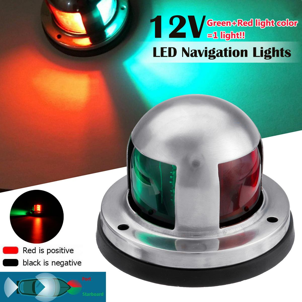 12V Boat Navigation Indicator Spot Light Stainless Steel Waterproof Bow Marine Boat Yacht LED Red Green Warning Signal Light