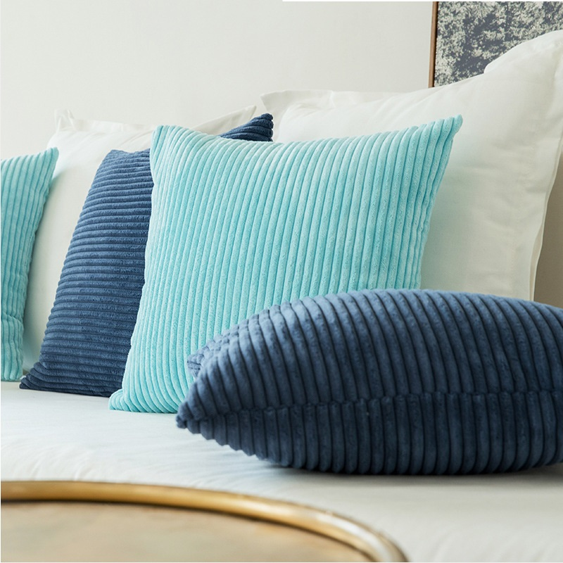 High Quality Soft Velvet Cushion Cover Solid Pillow Case Corduroy Flocking Stripe Yellow Gray Pink Home Decorative Pillow Covers in Cushion Cover from Home Garden