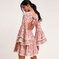 Women Boho Dress Summer Floral Print Lace Frill Ruffle Bohemian Dress Tiered Flare Sleeve Open Back Tie Mini Beach Holiday Dress