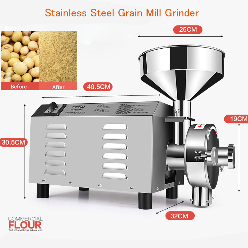 3000W Superfine Herbal Grinding Machine Stainless Steel Grain Grinder Commercial Grain Mill Beans Grinding Machine Type 3000 stainless steel chinese herbal crusher electric grinder 1000g household swing type cereals grinding machine mixer chopper device
