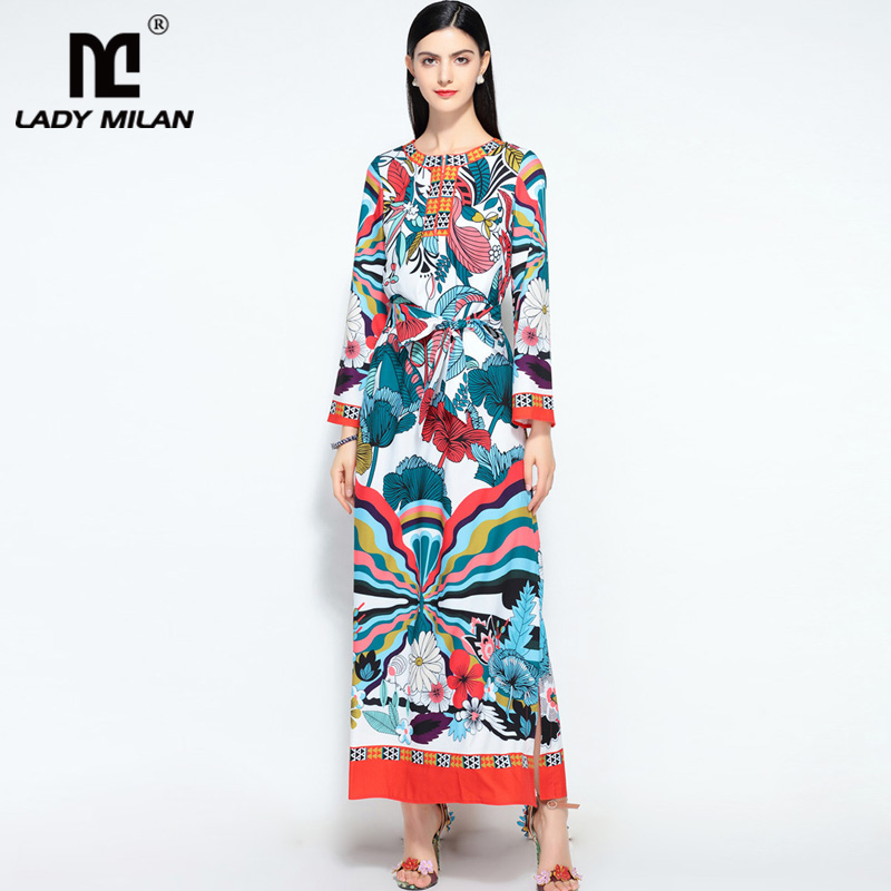 New Arrival Womens O Neck Long Sleeves Floral Printed Sash Belt Loose Design Fashion Maxi Casual Summer Runway Dresses