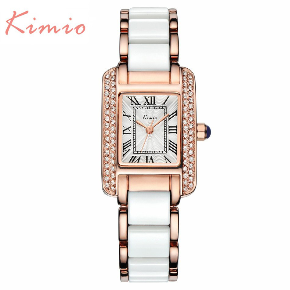 HOT 2017 Female Luxury Brand Kimio Quartz Women Watches Diamond Clock Ceramics Bracelet Lady Dress Gold Wristwatch montre femme weiqin new 100% ceramic watches women clock dress wristwatch lady quartz watch waterproof diamond gold watches luxury brand