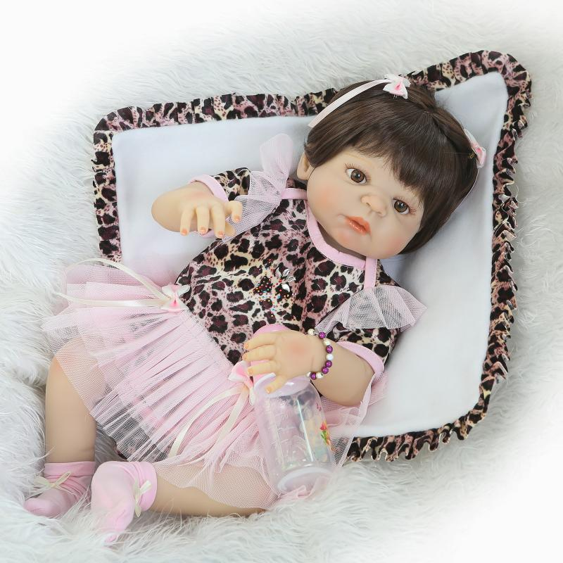 Nicery 22inch 55cm Bebe Reborn Doll Hard Silicone Boy Girl Toy Reborn Baby Doll Gift for Children Leopard Pink Dress Baby Doll nicery 18inch 45cm reborn baby doll magnetic mouth soft silicone lifelike girl toy gift for children christmas pink hat close