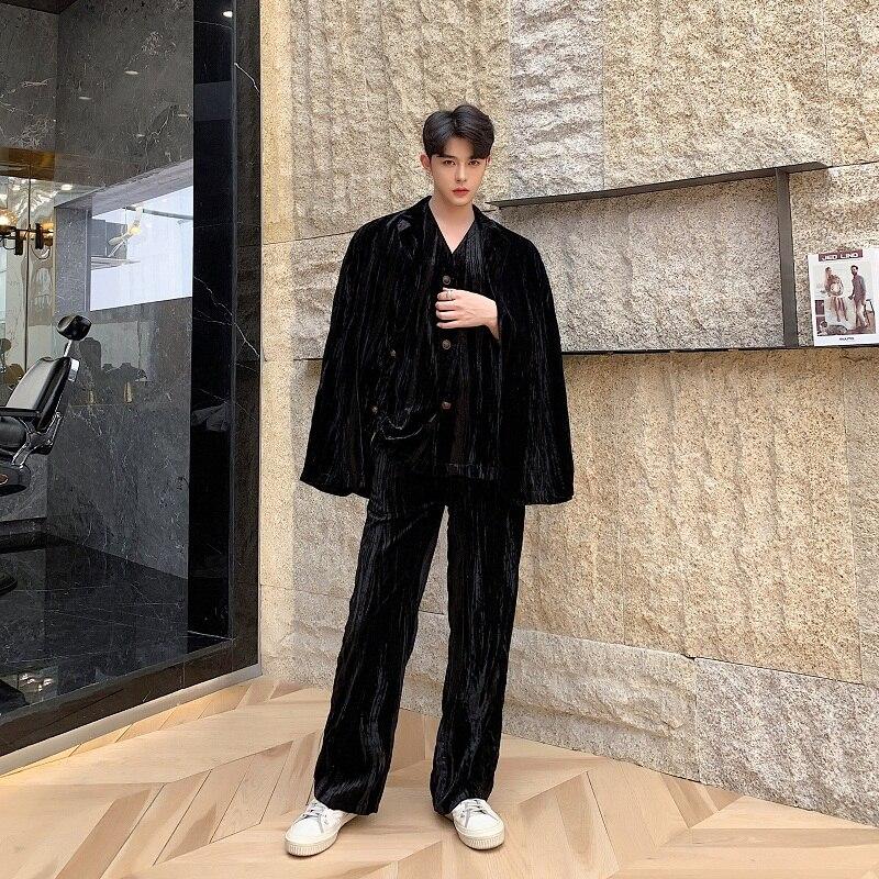 New Men Velvet Casual Blazer Suit Jacket Male Vintage Fashion Loose Suit Coat Streetwear Hip Hop Outerwear
