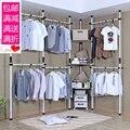 Ângulo de aço simples roupeiro vestiário aberto Coreano canto combinação roupeiro DIY