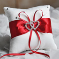 Double Heart Wedding Ring Pillow 10x10cm Crystal Diamond Decor Ribbon Bow Bridal Ring Pillow Event Party Wedding Decoration