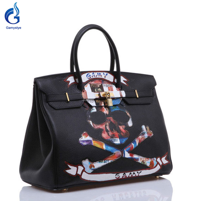 GAMYSTYE Graffiti Custom Women luxury Bags Hand Painted bags painting color Graffiti totes rock skull Female women leather bags rock skull graffiti custom bags handbags women luxury bags hand painted painting graffiti totes female blose women leather bags