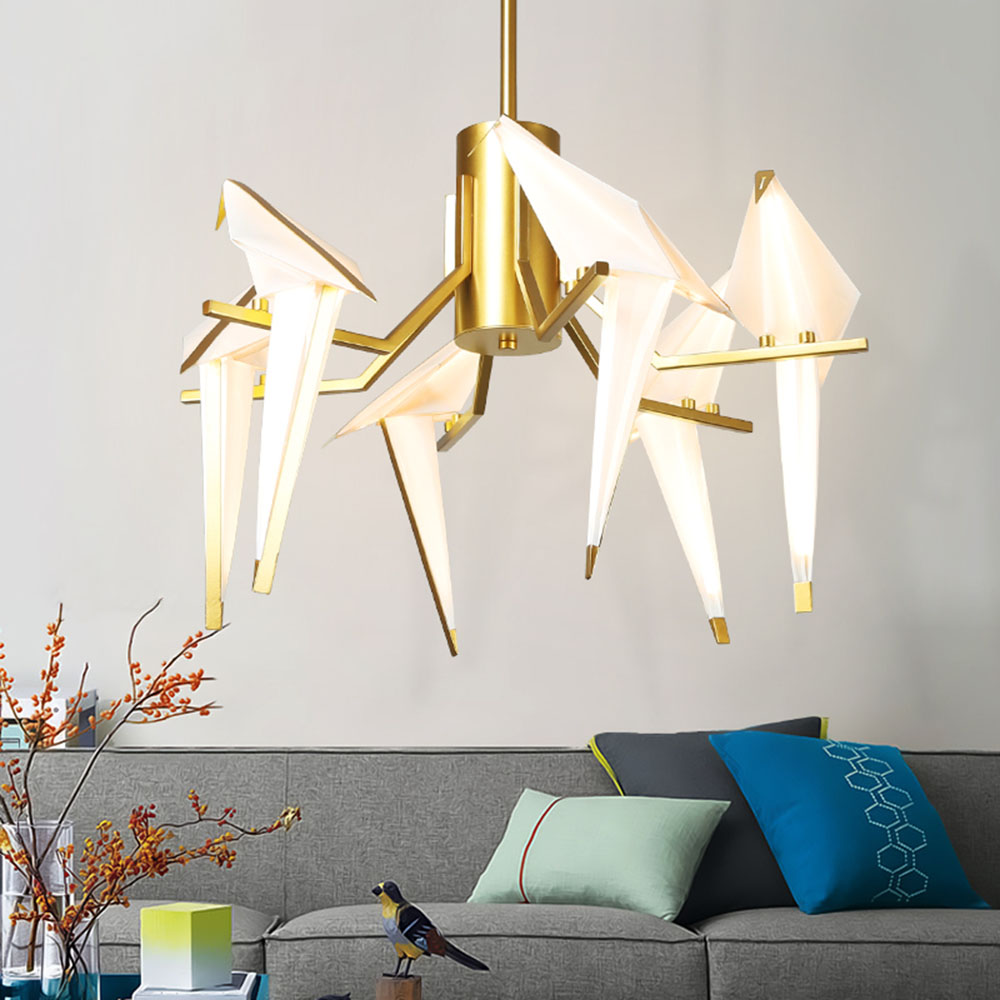 Nordic Modern Paper Crane LED Pendant Light Kit for Kids Bedroom Living Room Beside Lamp Chandelier Light Fixture Home Decor Art 6 e27 heads nordic post modern designer originality personality art living bed room cafe fashion led chandelier home decor light