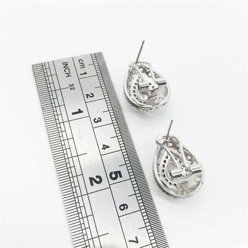 Hollow Tim 925 Sterling Silver Bridal Weddding Trang Sức Set white Earrings/Pendant/Vòng Cổ/Vòng Cho Phụ Nữ Miễn Phí Vận Chuyển