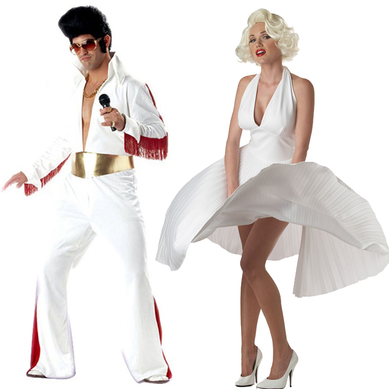 best wholesaler 20834 af5ec US $15.03 6% di SCONTO|Costumi Cosplay di Halloween costume party  abbigliamento cantante abbigliamento bianco adulto elvis Presley  abbigliamento ...