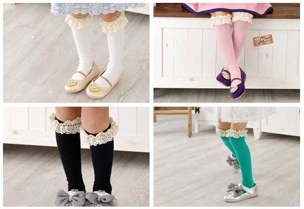 100pairs baby girl lace top kids Stockings classic knee BOOT high Stockings with lace solid color cotton Stockings 5color