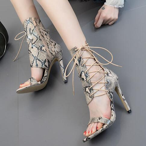 Big Size 43 Women Summer Python Snake Skin Open Toe Cross Lace Up Stiletto Heel Party High Heel Sandals Black Solid Sandals Shoe Shoes