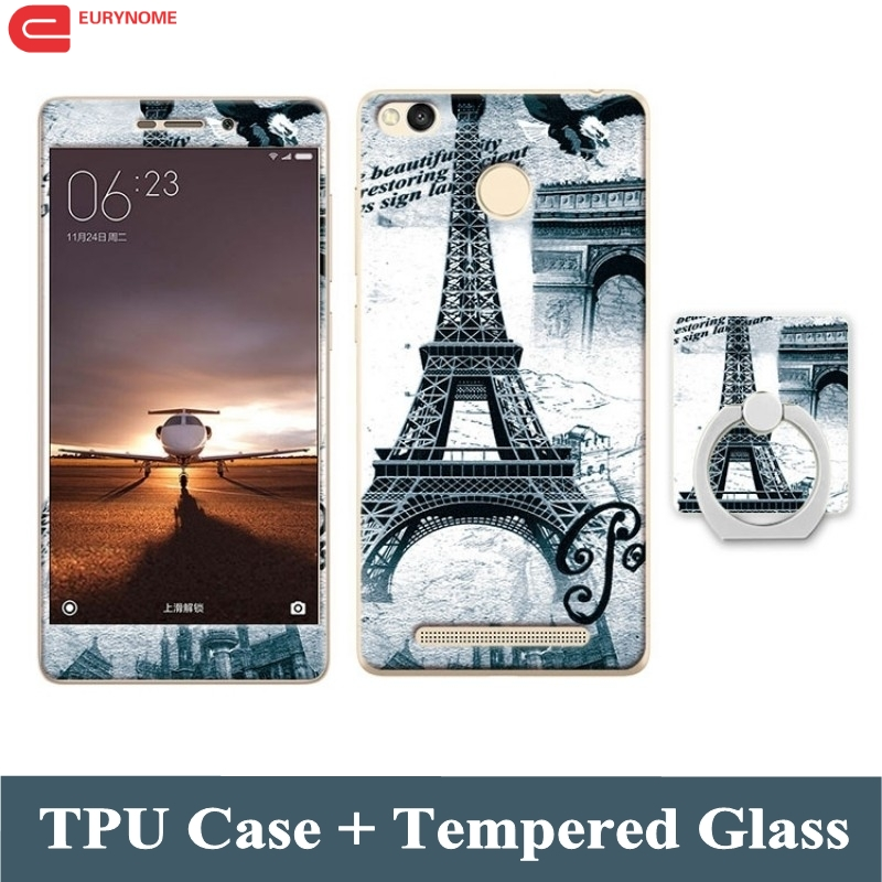 3D Cartoon Finger Ring Stitch Flower soft tpu silicone cover case for Xiaomi Redmi 3S redmi 3 S Redrice 3S + Tempered Glass Film