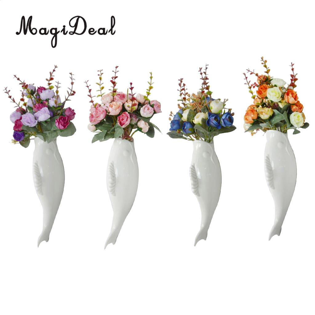 4pcs Fish Ceramic Wall Hanging Plants Flower Vase Mural with Artificial Flowers Home Hotel Cafe Decoration