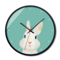 Nordic Wall Clock Needle Mute Quartz Lovely Pet Animal Print Metal Frame Glass Hanging Clocks Children Bedroom Watch Home Decor