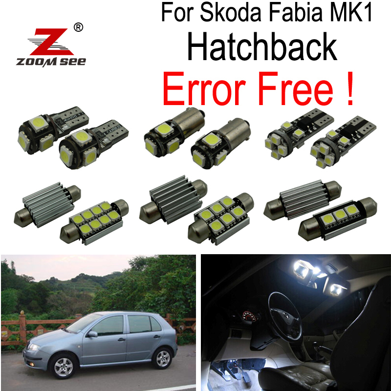 ZOOMSEEZ 14pcs license plate lamp LED bulb Interior dome Light  Kit  for Skoda Fabia MK1 Hatchback (1999-2007) cawanerl car canbus led package kit 2835 smd white interior dome map cargo license plate light for audi tt tts 8j 2007 2012