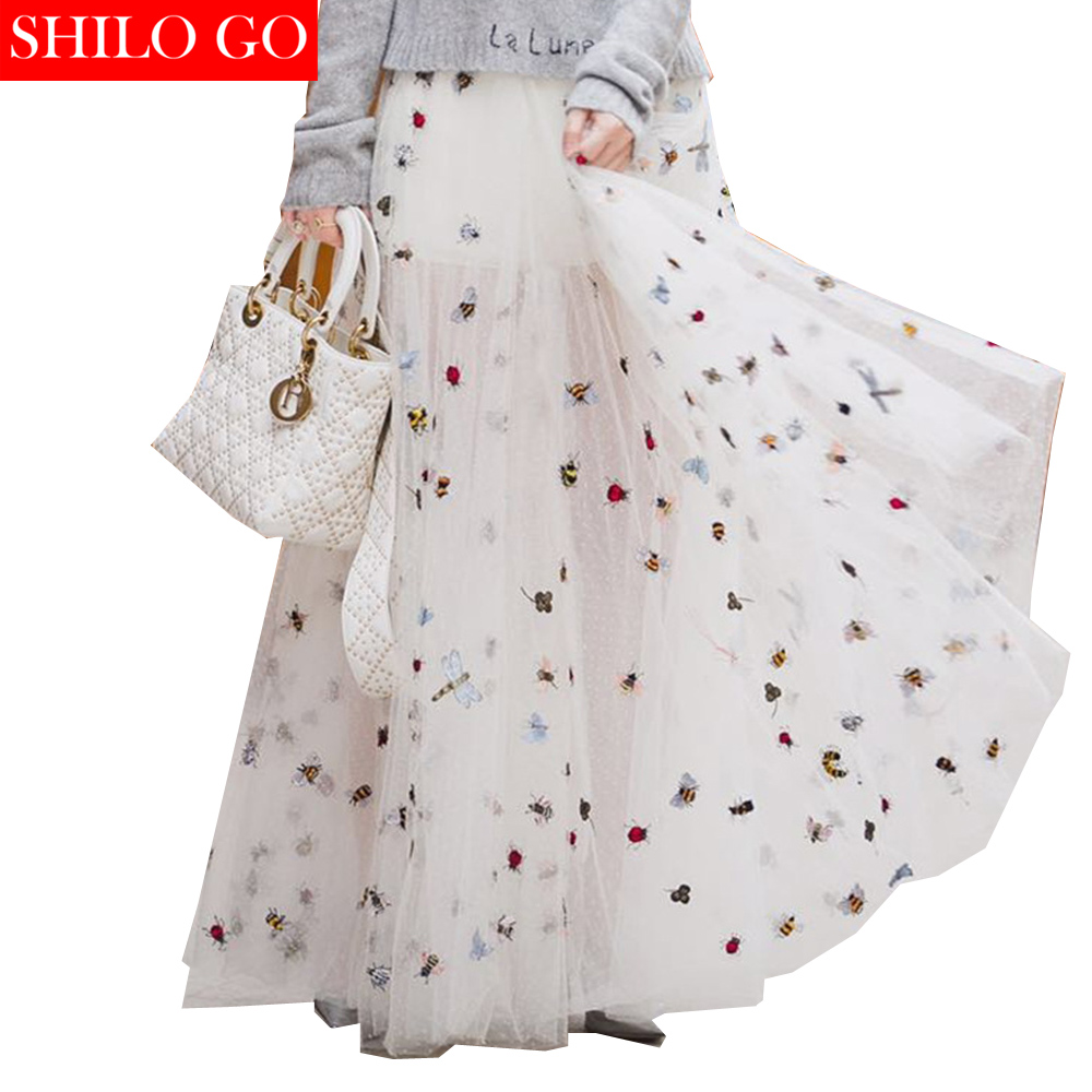SHILO GO 2019 Summer Fashion Women Embroidered Insects Dotted Yarn Luxury Empire Zipper White Long Ball