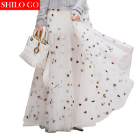 SHILO GO 2019 Summer Fashion Women Embroidered Insects Dotted Yarn Luxury Empire Zipper White Long Ball Down Skirt