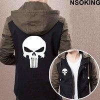 2017 New Spring Autumn The Punisher Skull Hoodie Fashion Anime Cool Coat Men zipper Jacket