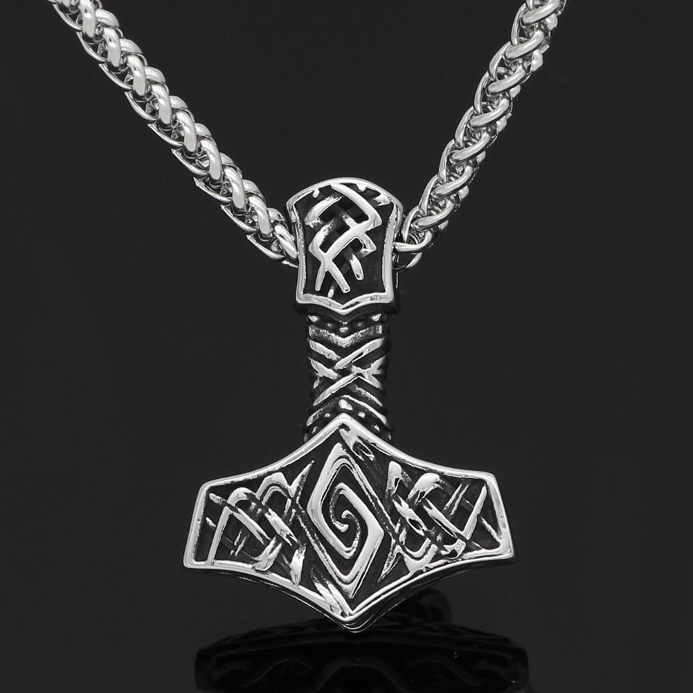 Men stainless steel Viking Nordic Thor hammer odin Mjolni pendant necklace