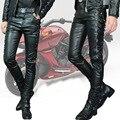 Personalidade masculina calças de couro fino espessamento dos homens calças Dos Homens de couro branco motocicleta calças harém de Boot Cut calças