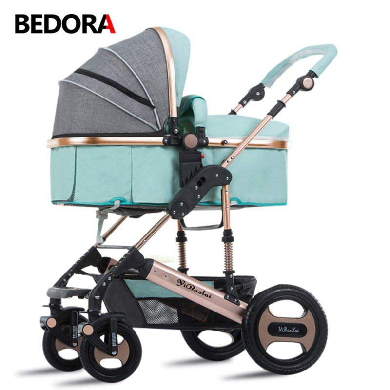 цены Bedora Baby stroller high landscape newborn folding hand push children baby cart carrinho de bebe apply to all seasons