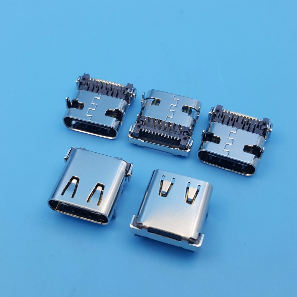 10Pcs High Speed USB 3.1 Type C Female 24Pin 4Legs PCB Mount Solder Socket Connector 10pcs g45 usb b type female socket connector for printer data interface high quality sell at a loss usa belarus ukraine