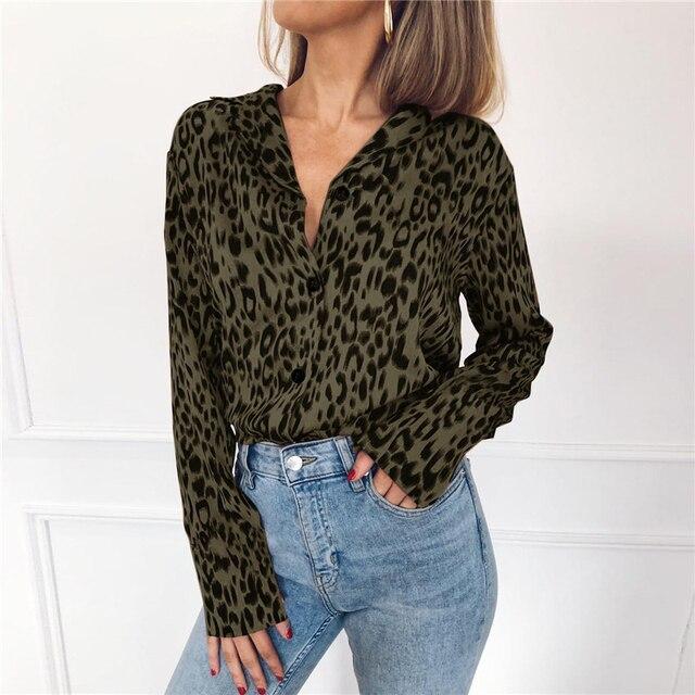 Women Blouses Autumn Vintage Leopard Blouse Long Sleeve Turn Down Collar Lady Office Shirt Loose Tops Plus Size Blusas Chemisier 4
