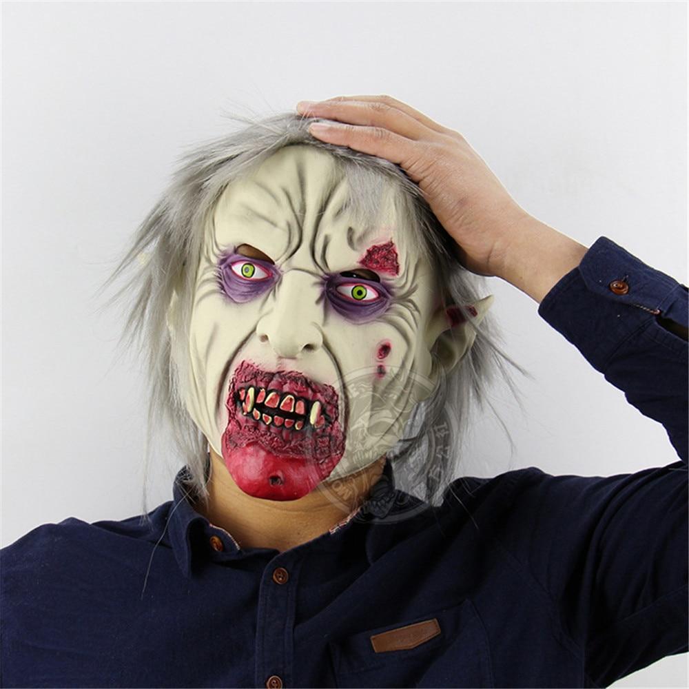 Cosplay vampire zombie horror demon latex mask halloween carnival purim adult mask hood props