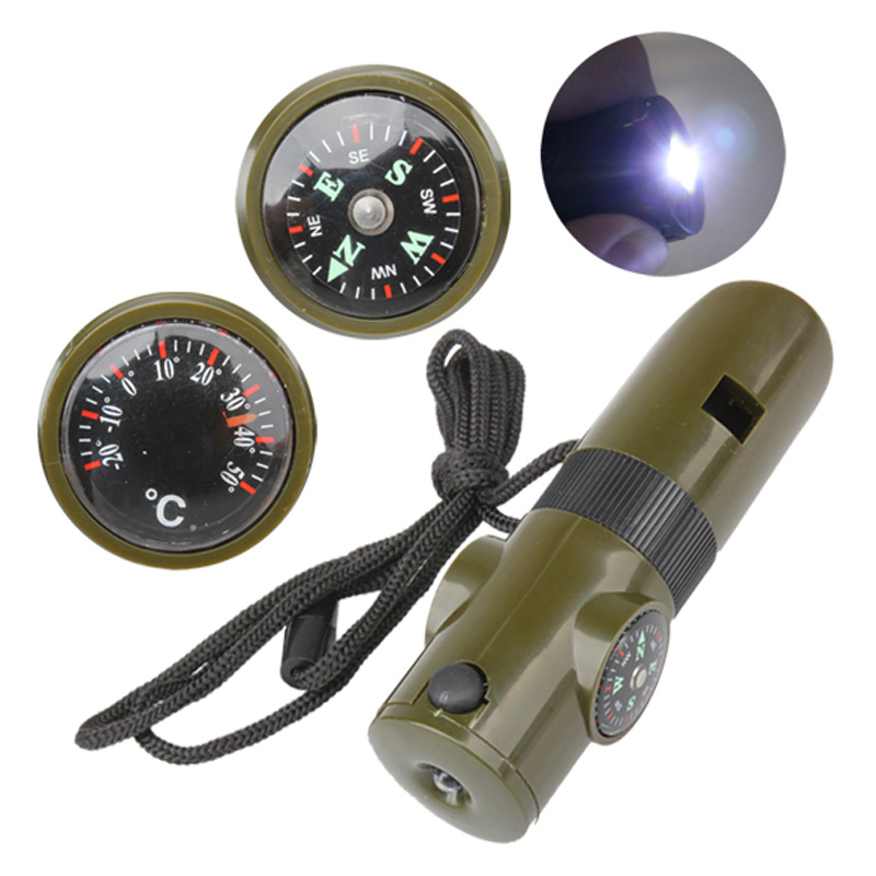 7 in 1 Mini SOS Survival Kit Camping Survival Whistle With Compass Thermometer Flashlight Magnifier tools For Outdoor Hiking survival whistle with compass thermometer and magnifier oem