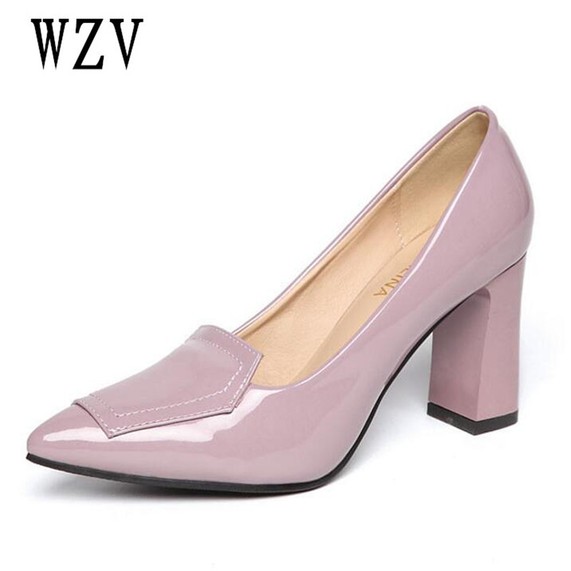 2018 New Fashion Patent leather high heels women pumps thin heel classic sexy OL shoes prom wedding shoes Purple black B440 the new puma womens shoes classic high classic star high tongue series white leather laser badminton shoes