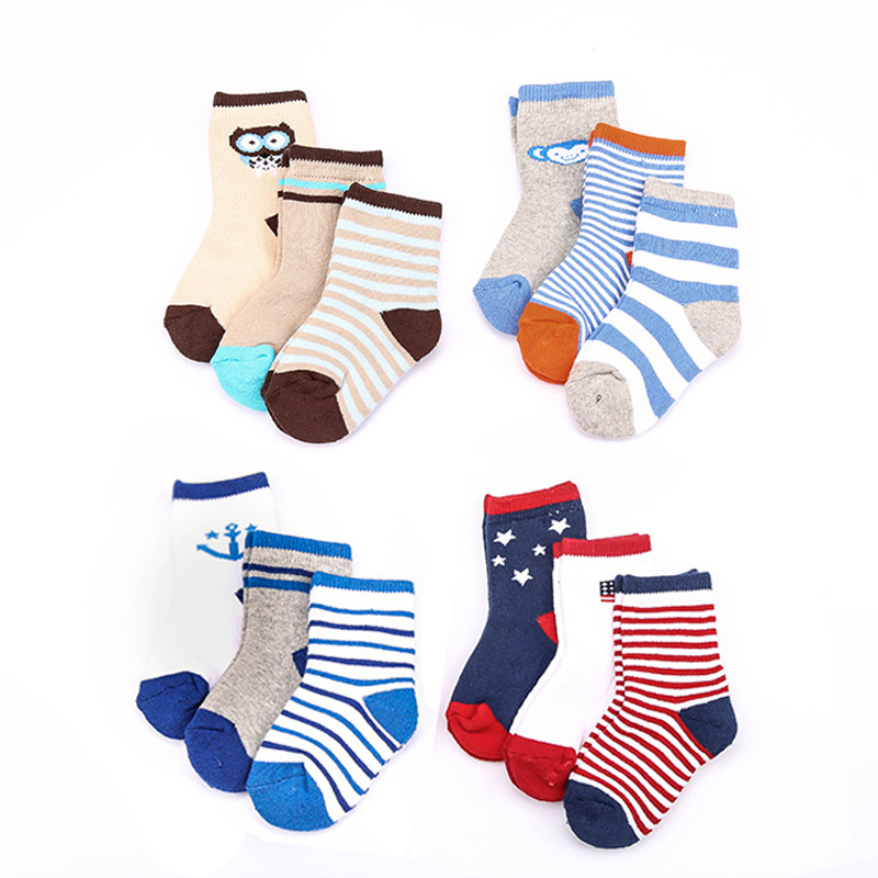 w053 Free shipping 1-3 years old children cartoon cotton socks thick winter wool circle  ...