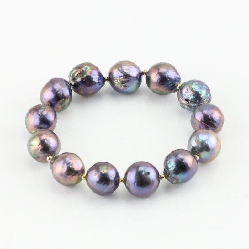 Bracelet de perles d'eau douce baroques de couleur noire, bijoux de perles réelles 10-12mm