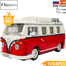 Mailackers Compatible Legoing Creators The T1 Camper Van Creator Series Red Car City Building Blocks Toys For Children Legoings(China)