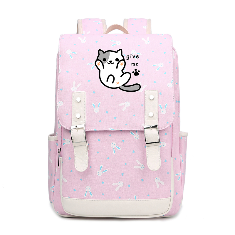 Rabbits Print Kawaii Women Backpack Neko Atsume Printing Backpack Anime School Bags for Teenage Girls Cartoon Laptop Backpack new card captor sakura printing backpack kawaii women shoulder bags sakura laptop backpack canvas school bags for teenage girls