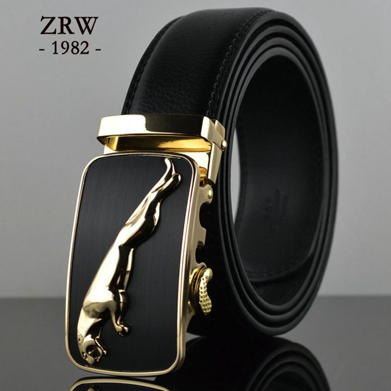 brand new high quality belts cowboys men's belt gold luxury Jaguar Automatic buckle designer waist strap jeans size 125cm c033