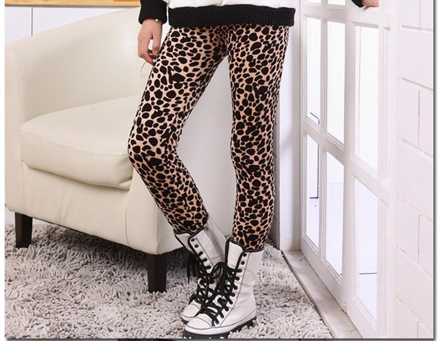 a08ba98257c0c Free Shipping New Girls' Leopard leggings Children Fall Winter Warm Thicken  Pants Baby/Kids Clothing For 2-6yrs Fashion Trousers