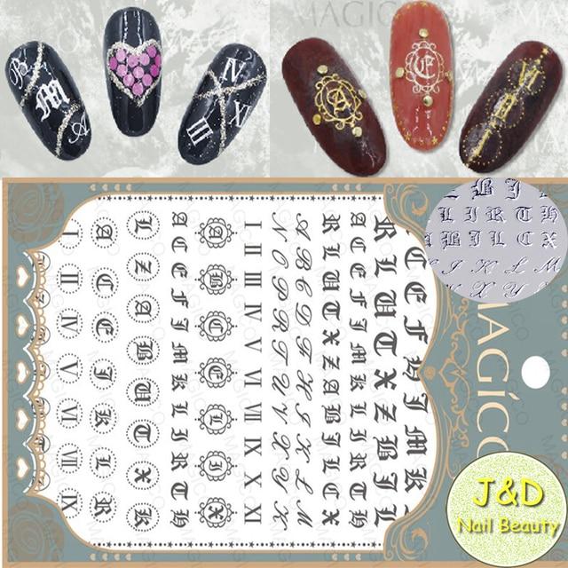 1sheet Silvery Alphabet Nail Art Sticker Italic Character Decals