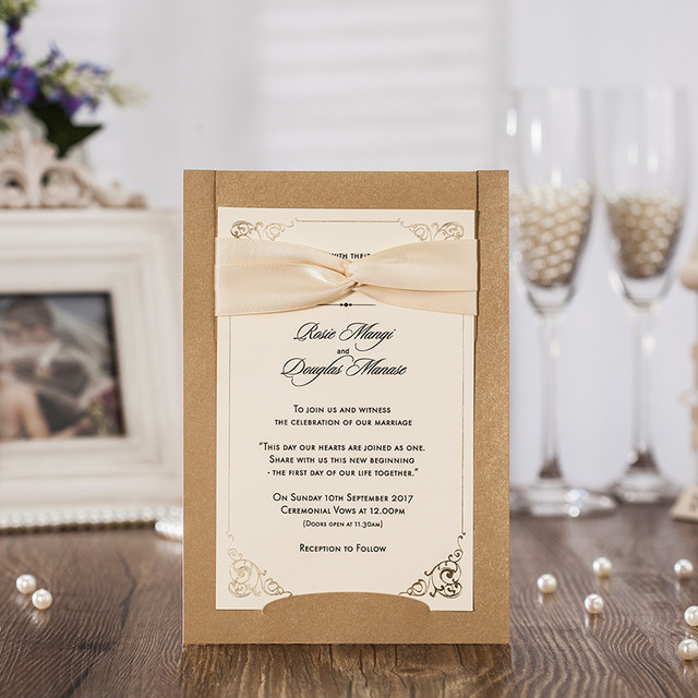 Hot Stamping Lace Wedding Invitations Cards Sets With Bowknot Ribbon Cardstock For Birthday Event Party SuppliesCW6181